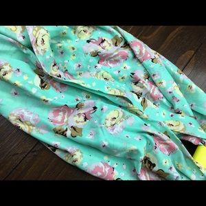 Dark Mint green & pinks floral infinity scarf NWT